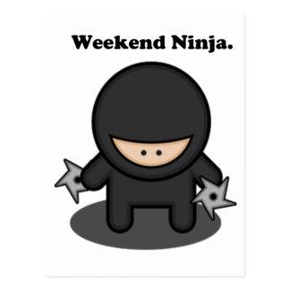 Weekend Ninja Cute Fighter Cartoon Postcard