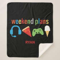 Weekend Plans Gamer Kids Video Game Snacks Sherpa Blanket