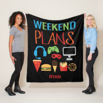 Weekend Plans Gamer Video Game Kids Personalized Fleece Blanket