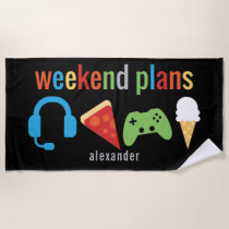 Weekend Plans Gamer Video Game Snacks Kids Beach Towel