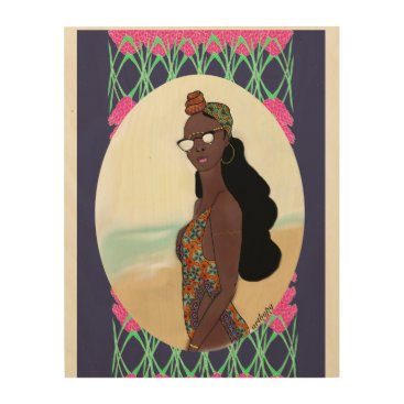 Beach Themed Weekend View-- Girl In A Bathing Suit Wood Wall Art