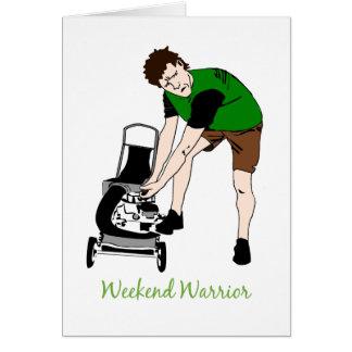 Weekend Warrior Funny Lawn mowing Cartoon Greeting Card