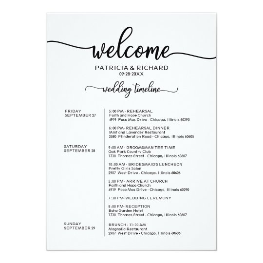 weekend wedding schedule elegant calligraphy invitation. Black Bedroom Furniture Sets. Home Design Ideas
