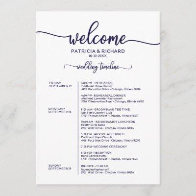 Weekend Wedding Schedule Elegant Chic Navy Blue Invitation