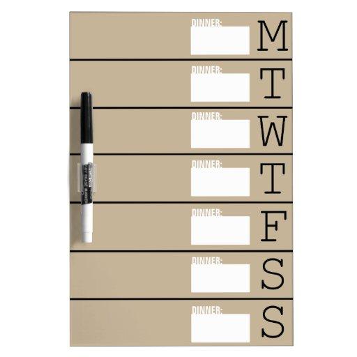 Weekly Calendar / Dinner Menu - Dry Erase Board
