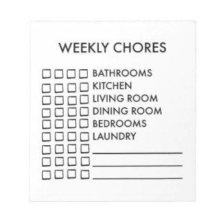 Weekly Chores Notepad checklist for planner
