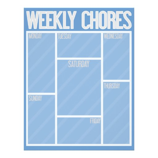 """WEEKLY CHORES Perfect for your kids or business! 8.5"""" X 11"""" Flyer"""