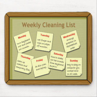Weekly Cleaning List Mousepad