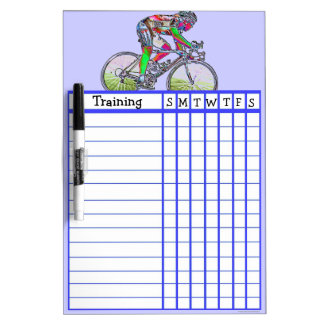 Weekly cycling training schedule dry erase board