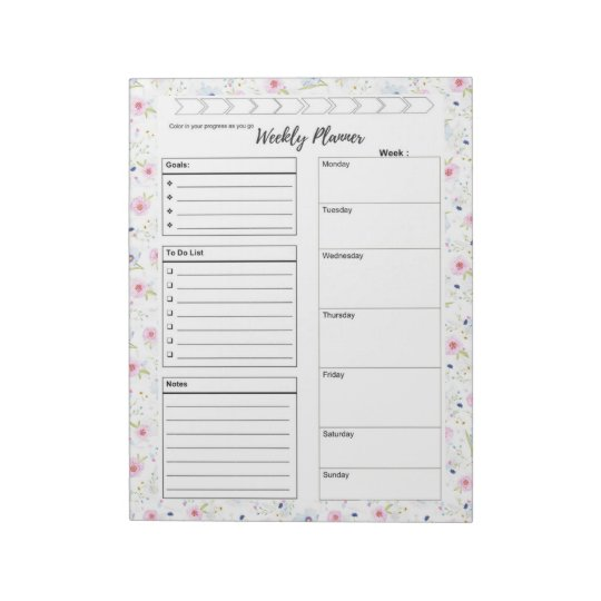 weekly daily planner to do list goal tracker notepad zazzle com