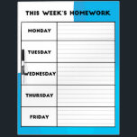 "Weekly Homework Schedule Dry Erase Board<br><div class=""desc"">This dry erase board is designed for classrooms and home school.  This board was designed so that teachers can have a specific place to write down the homework assignments for the week.</div>"