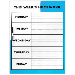 Weekly Homework Schedule Dry Erase Board