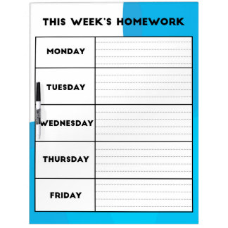 Weekly Homework Schedule Dry Erase Board