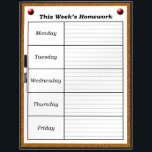 "Weekly Homework Schedule Dry Erase Board *Updated*<br><div class=""desc"">This dry erase board is designed for classrooms and home school.  This board was designed so that teachers can have a specific place to write down the homework assignments for the week.  The board is designed to resemble a bulletin board/cork board.  *Updated*</div>"
