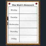 """Weekly Homework Schedule Dry Erase Board *Updated*<br><div class=""""desc"""">This dry erase board is designed for classrooms and home school.  This board was designed so that teachers can have a specific place to write down the homework assignments for the week.  The board is designed to resemble a bulletin board/cork board.  *Updated*</div>"""