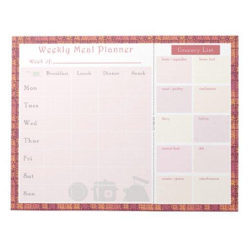 Weekly Meal Planner Autumn Metal Memo Note Pads