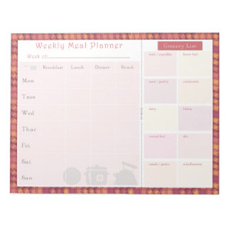 Weekly Meal Planner Autumn Overlap Note Pad