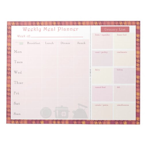 Weekly Meal Planner Autumn Overlap Scratch Pad