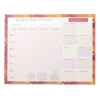 Weekly Meal Planner Autumn Retro Note Pad