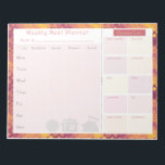 "Weekly Meal Planner Autumn Retro Notepad<br><div class=""desc"">Having a weekly meal planner allows us to spend less on groceries and eating out. This meal planner lets you think ahead of what to cook in a week for breakfast, lunch, dinner and even supper. There is a cut out portion where you can list down what you need to...</div>"