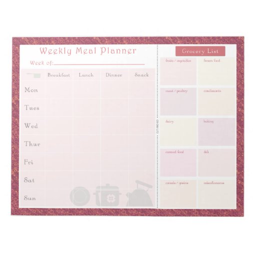 Weekly Meal Planner Autumn Rose Scratch Pad