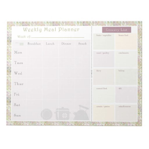 Weekly Meal Planner Colorful Circles Memo Pads