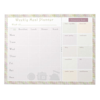 Weekly Meal Planner Colorful Retro Note Pad
