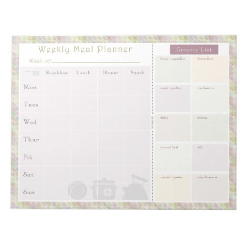 Weekly Meal Planner Colorful Retro Memo Notepad