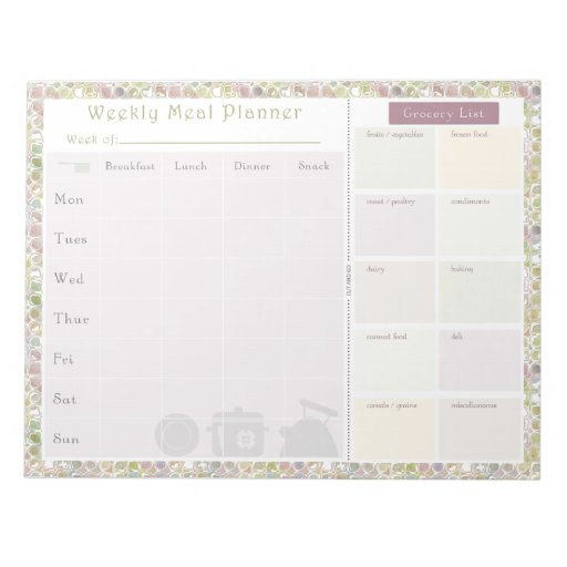 Weekly Meal Planner Colorful Shapes Memo Pad