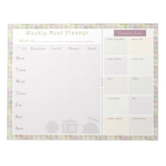 Weekly Meal Planner Colorful Square Note Pad