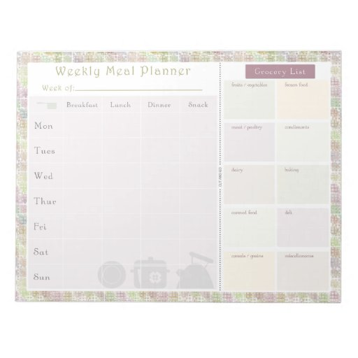 Weekly Meal Planner Colorful Square Notepad