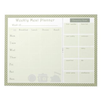 Weekly Meal Planner Green Chequered Notepad