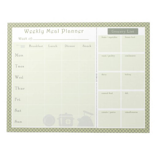 Weekly Meal Planner Green Chequered Scratch Pad