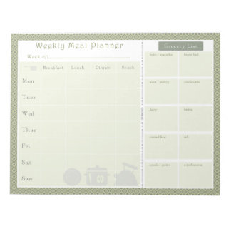 Weekly Meal Planner Green Diamond Notepad