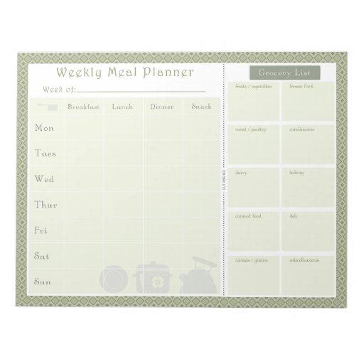 Weekly Meal Planner Green Diamond Memo Note Pad