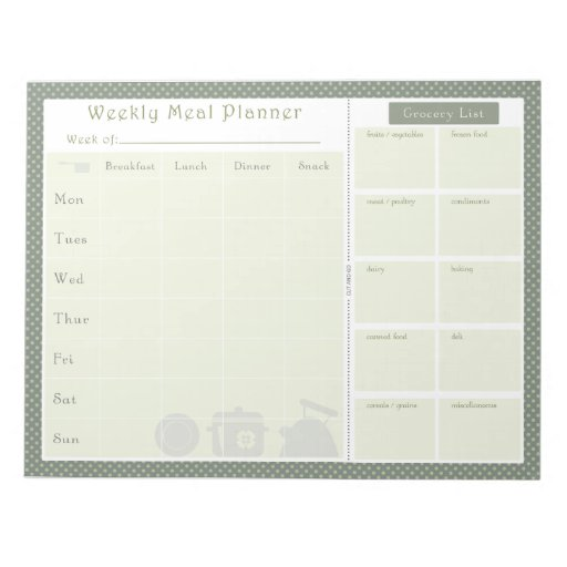 Weekly Meal Planner Green Dots Notepad