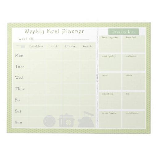 Weekly Meal Planner Green Flowers Memo Pad