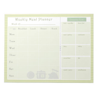 Weekly Meal Planner Green Stripes Notepad
