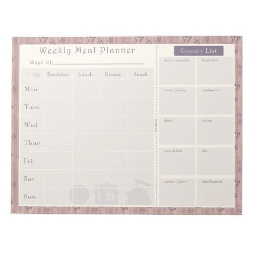 Weekly Meal Planner Mauve Kitty Cat Memo Note Pads