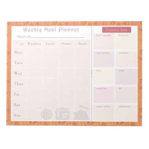 Weekly Meal Planner Summer Cat Note Pad