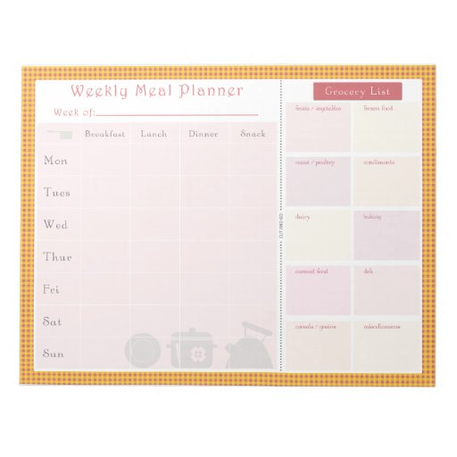 Weekly Meal Planner Summer Chequered Memo Note Pad