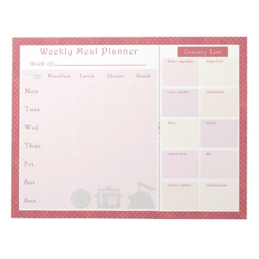 Weekly Meal Planner Summer Circles Notepads