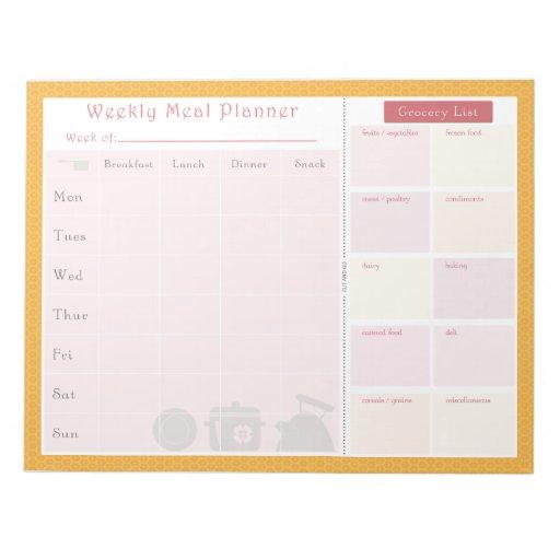 Weekly Meal Planner Summer Flowers Memo Note Pad