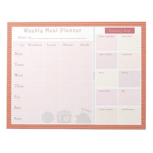 Weekly Meal Planner Summer Line Memo Notepads