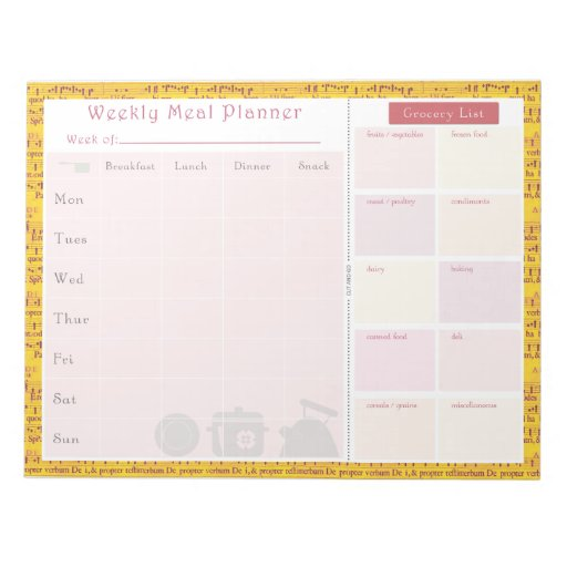 Weekly Meal Planner Summer Music Memo Note Pad
