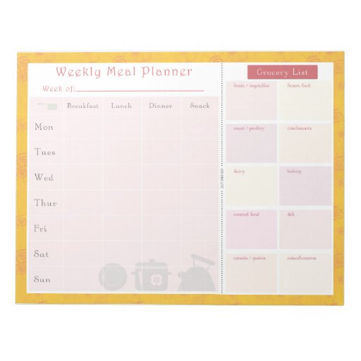 Weekly Meal Planner Summer Scratch Pad