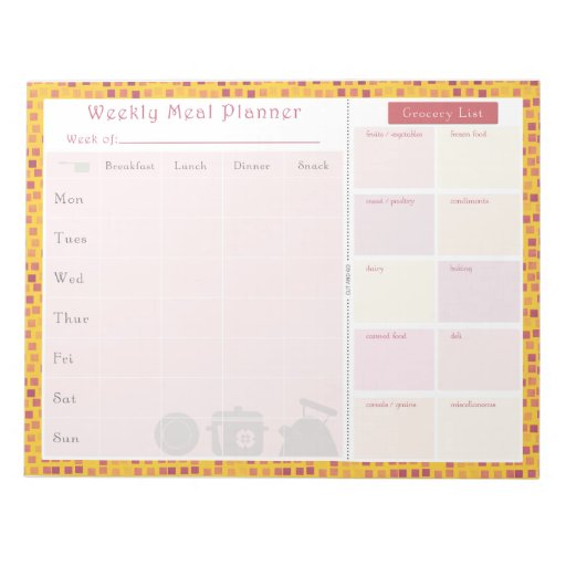 Weekly Meal Planner Summer Square Note Pads