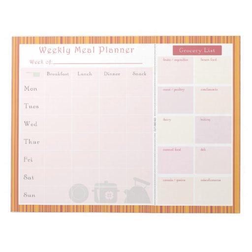 Weekly Meal Planner Summer Stripes Memo Note Pads