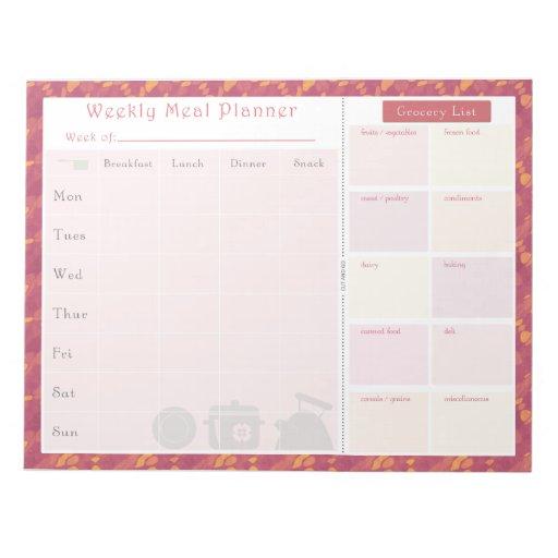 Weekly Meal Planner Summer Wave Memo Note Pads