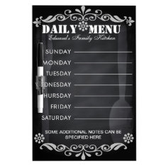 Weekly Menu Blackboard for Kitchen at Zazzle